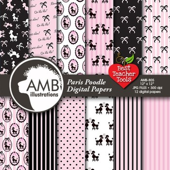 Digital Papers - Paris Poodle papers and Digital backgrounds AMB-805