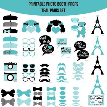 Paris Teal Printable Photo Booth Prop Set
