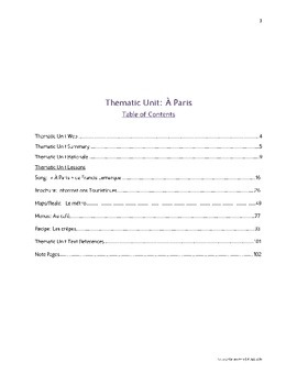 Paris Thematic Unit for High School or Middle School French (Year/Level 2+)