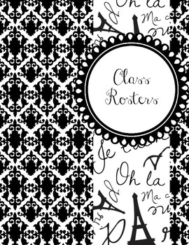 Paris Themed Black and White Teacher Binder