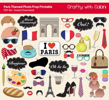 Paris Themed Photo Booth Prop Printable By Crafty With Calani Tpt