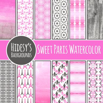 Paris Watercolor Pink and Black Water Color Painting Digital Paper / Background