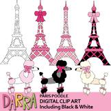 Paris clip art - Eiffel Tower and Poodle clipart (pink, black)