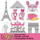 Paris clipart - Bonjour Paris clip art - France monuments - Eiffel Tower