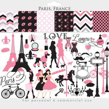 Paris clipart - France clipart Eiffel tower French pink, Valentine's Day, travel