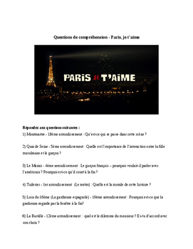 Film - Paris je t'aime - Questions to go along with movie