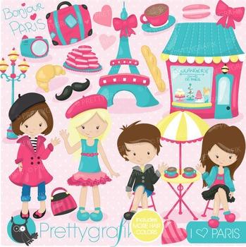 Paris kids clipart commercial use, vector graphics, digital - CL718