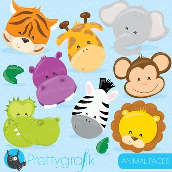 Animal faces clipart commercial use, vector graphics, digital - CL719