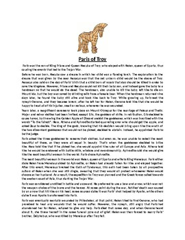 Paris of Troy Story Biography and Assignment