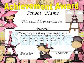 Paris (pink) Achievement award English / Spanish version
