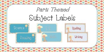 Paris Theme Subject Labels