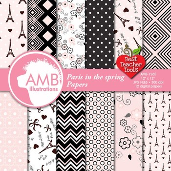 Parisian Digital Papers, Paris themed Papers, Pink Patterned Papers, AMB-1265