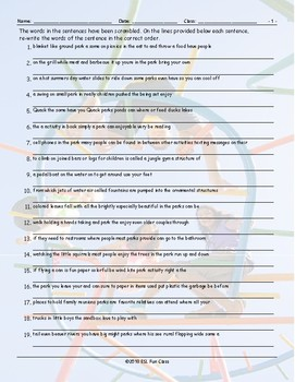 Park Activities Scrambled Sentences Worksheet