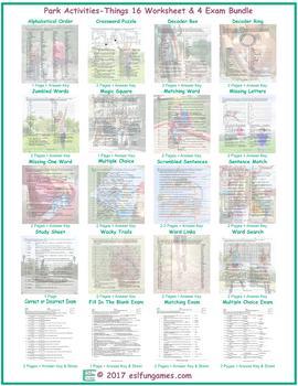 Park Activities-Things 16 Worksheet- 4 Exam Bundle