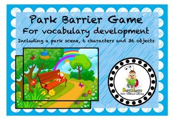 Park Scene Vocabulary Development Barrier Game