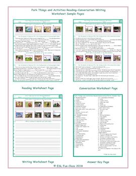 Park Things-Activities Reading-Conversation-Writing Worksheets