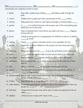 Park Things-Activities Study Worksheet