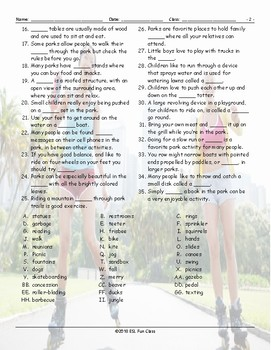 Park Things-Activities Word Search Worksheet