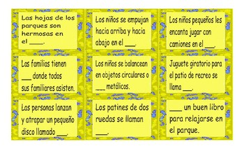 Park Things and Activities Spanish Card Game