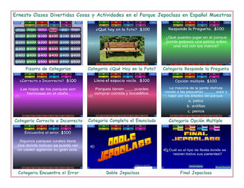 Park Things and  Activities Spanish Jeopardy Game