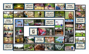 Park Things and Activities Spanish Legal Size Photo Board Game