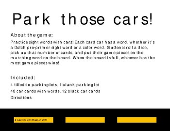 Park Those Cars! sight word game