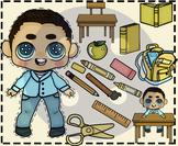 Parker's School Supplies (IN Yellow & BW) Clip Art