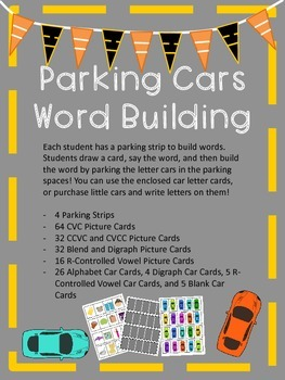 Parking Cars CVC, blend, and digraph Word Building