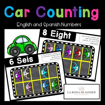 Parking Lot Car Counting Mats - No Prep Bilingual Spanish Resource