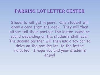Parking Lot Letter Literacy Center