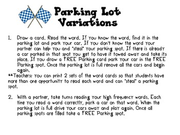 Parking Lot Sight Word Game