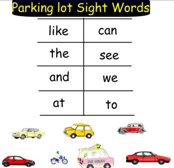 Parking Lot Sight Words