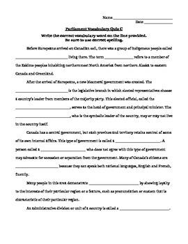 Parliament Vocab Quiz