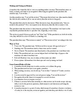 Parliamentary Procedure 101