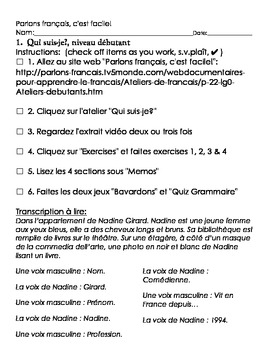 Parlons français, c'est facile activity sheet, débutant, #1 through #5