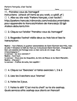 Parlons français, c'est facile activity sheet, débutant, #11 through #15