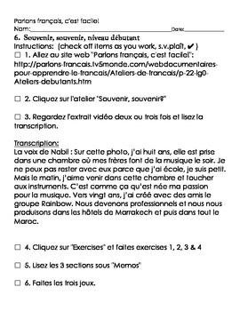 Parlons français, c'est facile activity sheet, débutant, #6 through #10