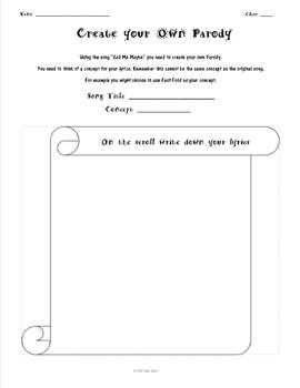 Parody Song Lyric Writing Worksheet