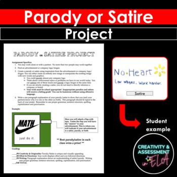 Parody Or Satire Project By Creativity And Assessment In Ela Tpt