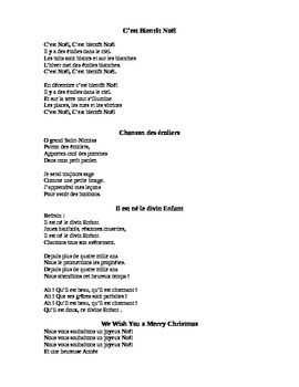 Parole des Chansons de Noel... French Christmas Songs Lyrics