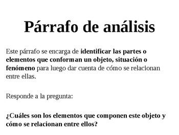 Párrafo de análisis y párrafo de clasificación