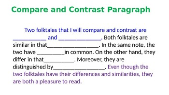 Párrafos de Comparar y Contrastar Cuentos Folklóricos- Compare and Constrast
