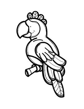 Parrot Color Posters & Coloring Page - Spanish/Espanol