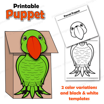 Parrot Craft Activity | Paper Bag Bird Puppet Templates