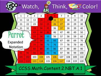 Parrot Expanded Notation - Watch, Think, Color! CCSS.2.NBT.A.1