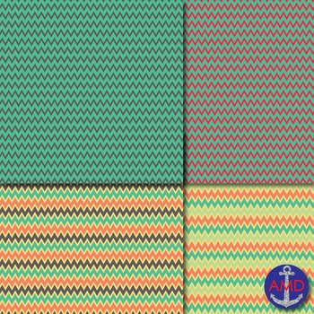 Parrot Feathers Chevron, Polka Dot & Striped Papers for Backgrounds and More