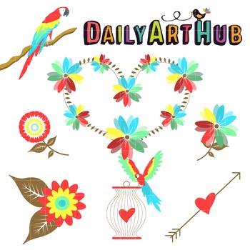 Parrot Love Clip Art - Great for Art Class Projects!