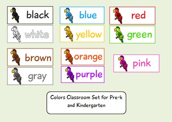 Parrot themed Classroom Color Flashcards for Pre-k and Kin