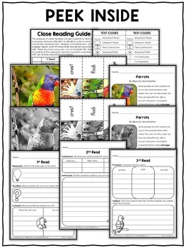 Close Reading Passage - Parrot Activities
