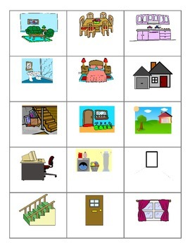 Rooms of the House FOREIGN LANGUAGE Games (Spanish, Italian, German)